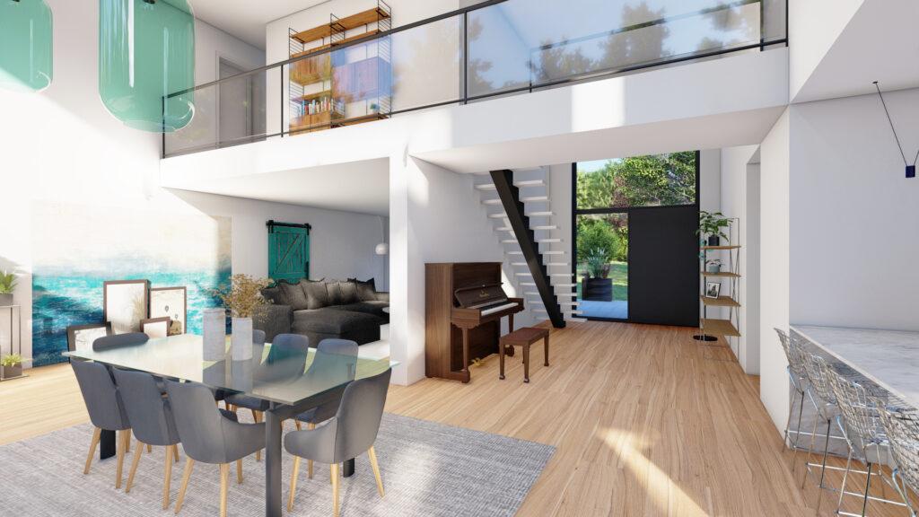Bâti C vous réalisations maison cubique aménagement intérieur décoration Moselle